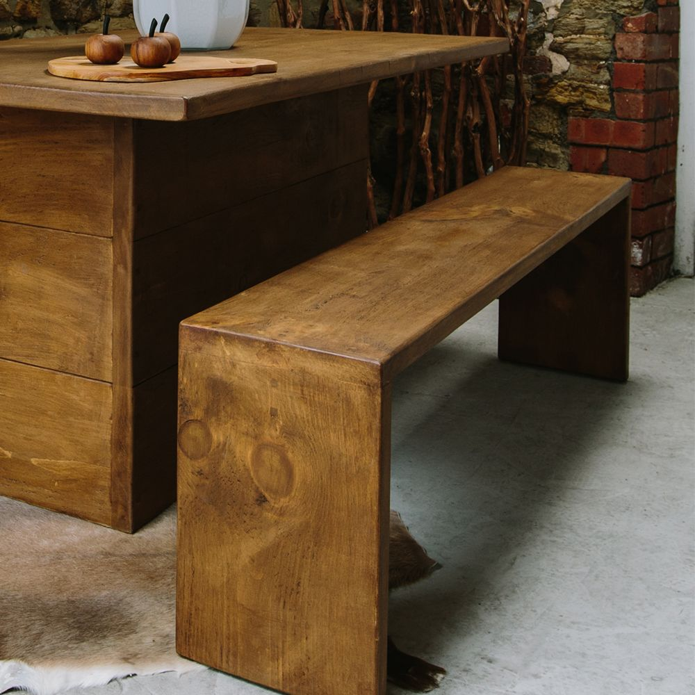 Idaho Plank Dining Bench. Plank Dining Benches With Chunky, Rustic Design  And Hand Waxed