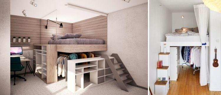 lit mezzanine adulte et id es de rangement pour vous plafond moderne lambris bois et lits. Black Bedroom Furniture Sets. Home Design Ideas
