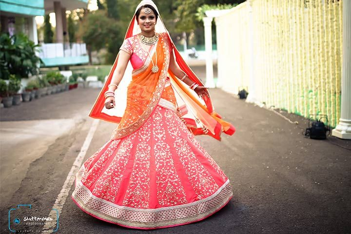 5f85bda3e4f4a9 ... 20 Trending Designs To Stir The Soul. Pink, Orange and Silver Sequins Bridal  Lehenga