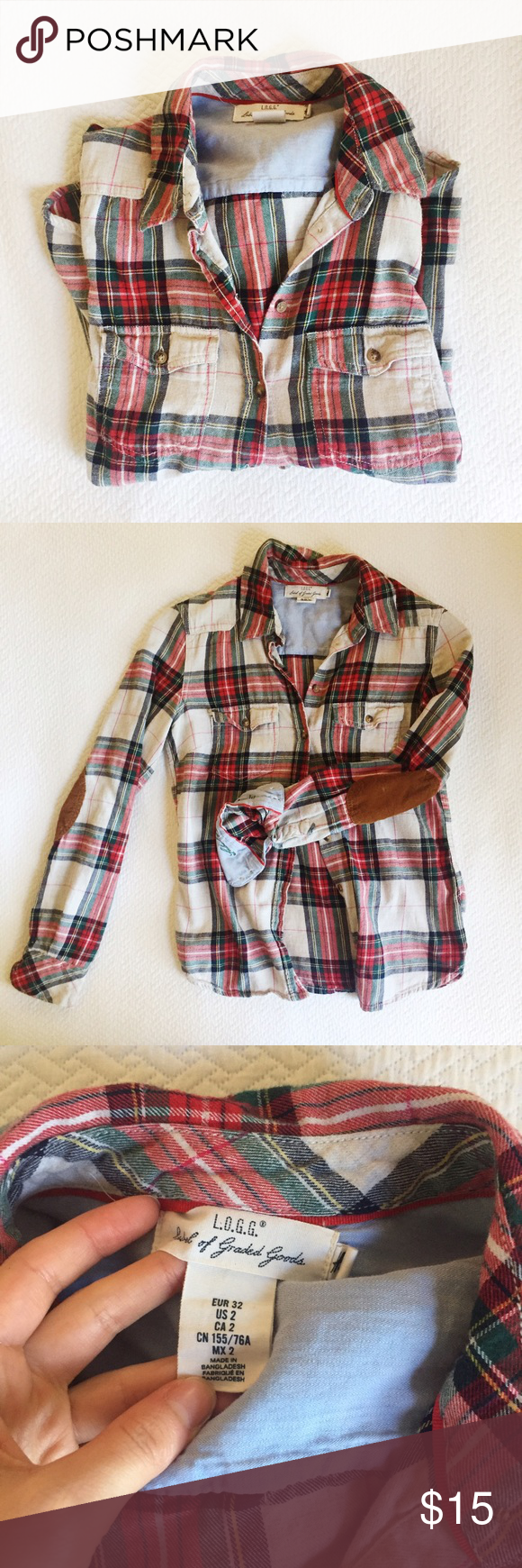 Flannel jacket with elbow patches  HuM Logg Flannel Plaid Red Elbow Patch Button Up
