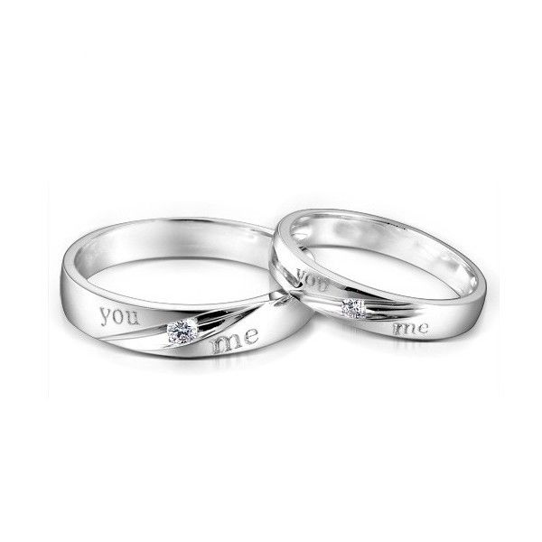 couples matching you me diamond wedding ring bands on silver - Silver Wedding Ring