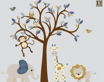 Boy Room Wall Decal Wall Stickers Safari Animal Wall Decal