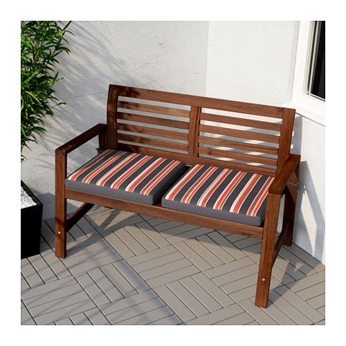 196 Pplar 214 Bench With Backrest Outdoor Brown Stained Brown