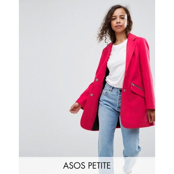 ASOS PETITE Slim Boyfriend Coat with Zip Pocket (118 CAD) ❤ liked ...