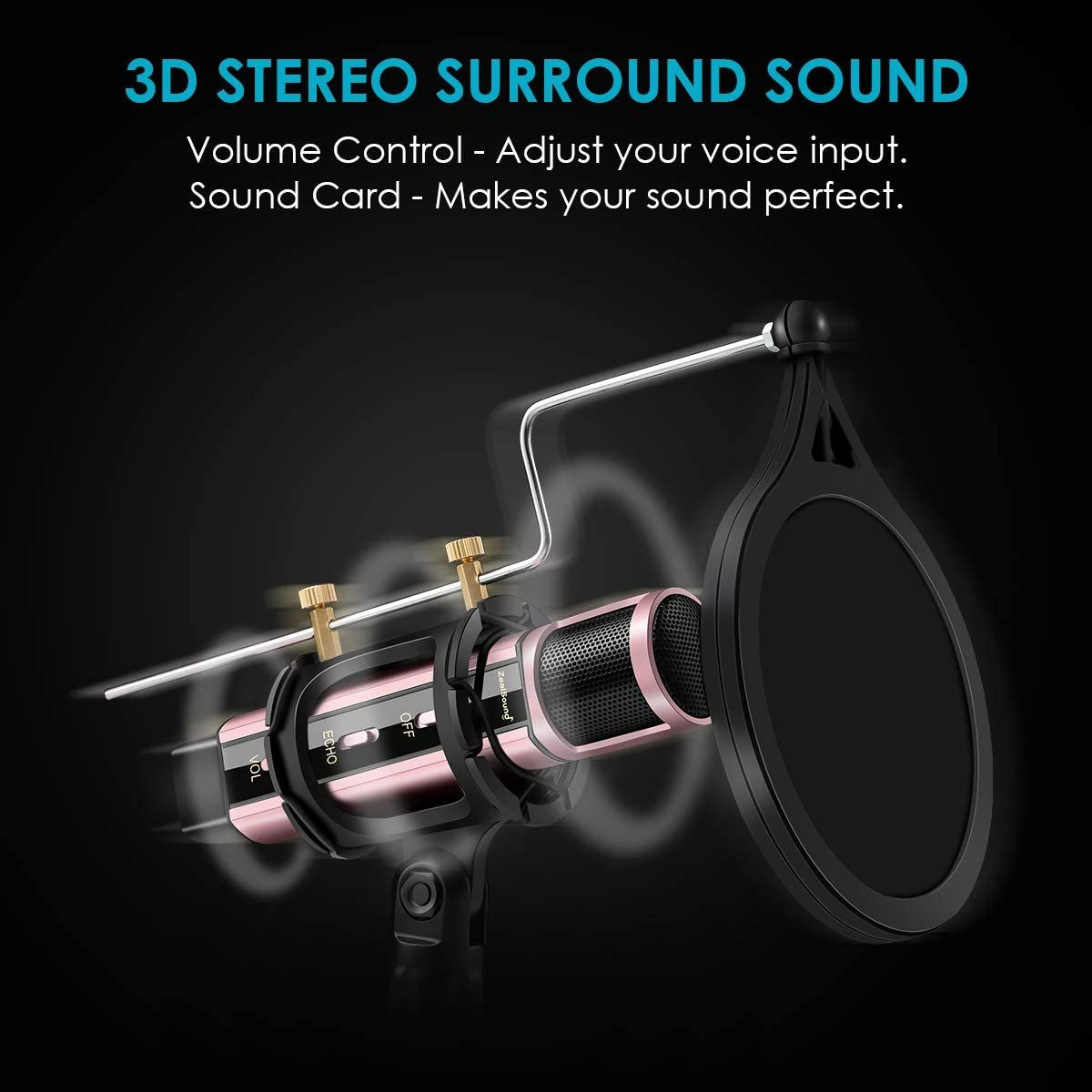 Studio Recording Microphone ZealSound Condenser Broadcast Microphone w//Stand Built-in Sound Card Echo Recording Karaoke Singing for Phone Computer PC Garageband Smule Live Stream /& YouTube