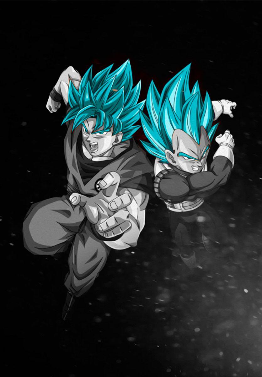 Goku Vegeta Blue Saiyans Poster By The Fantartistic Displate Dragon Ball Tattoo Poster Prints Metal Posters