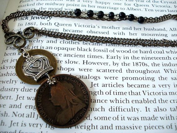 Vintage Queen Victoria 1895 One Penny Coin Pendant by joyceshafer