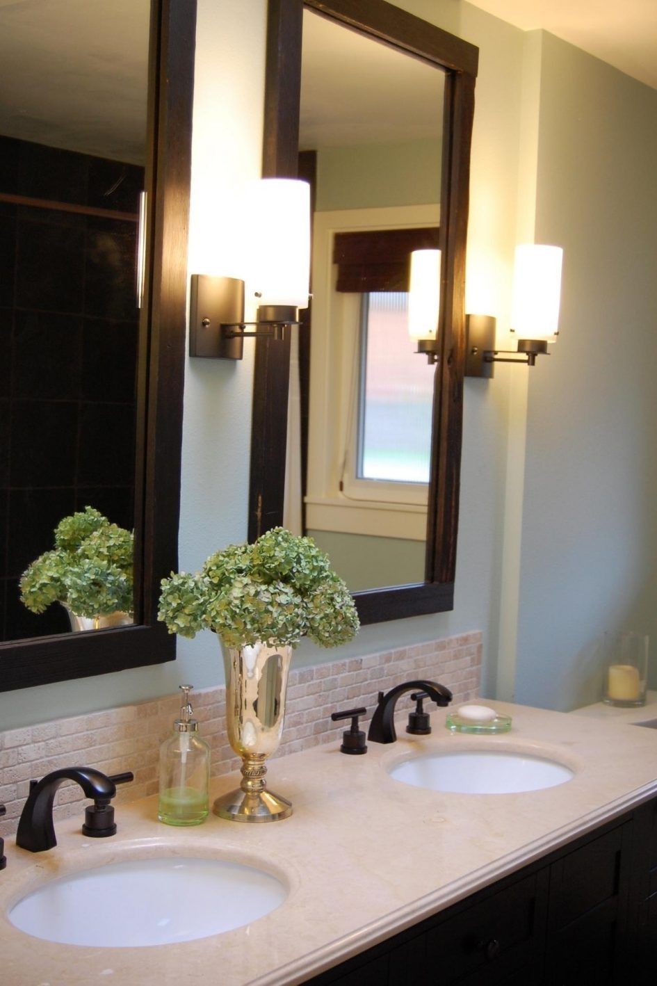 Bathroom Bathroom Mirror Frames With Flower Vase And ...