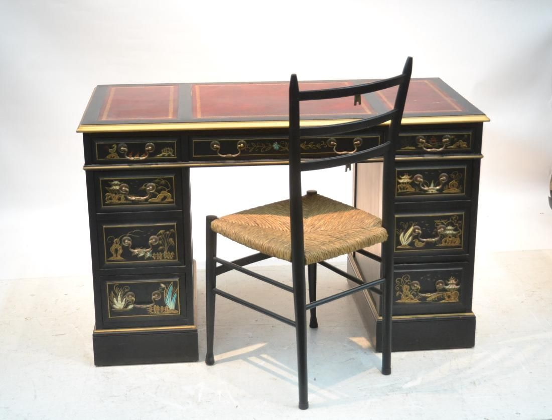 Phenomenal Lot Sligh Furniture Black Lacquer Chinoiserie Desk Lot Gmtry Best Dining Table And Chair Ideas Images Gmtryco