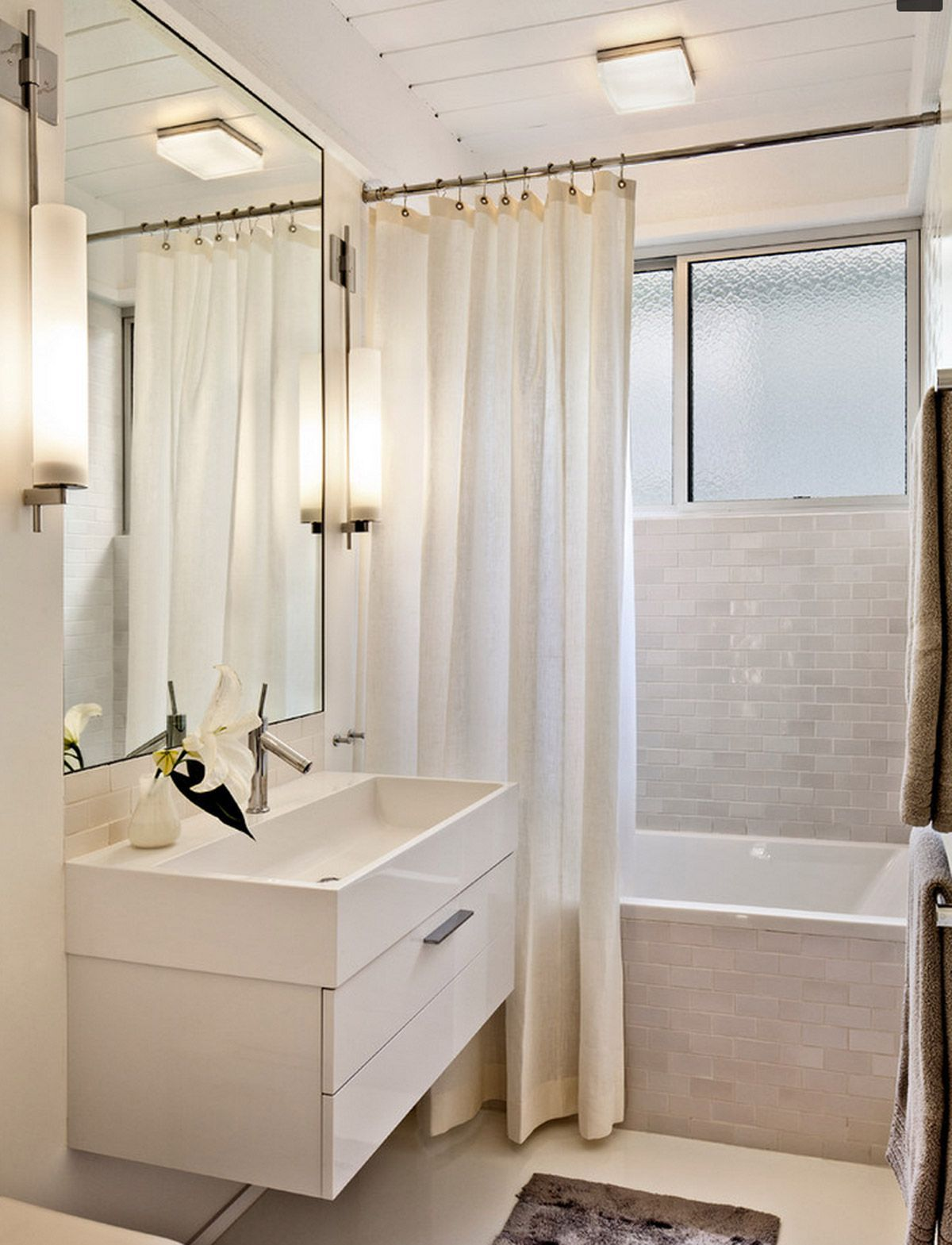 Small Bathroom With Flush Mount Lighting And White Long