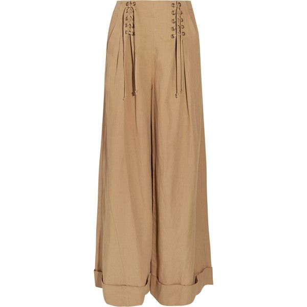 Gaucho Pleated Broadcloth Wide-leg Pants - Light brown Ulla Johnson