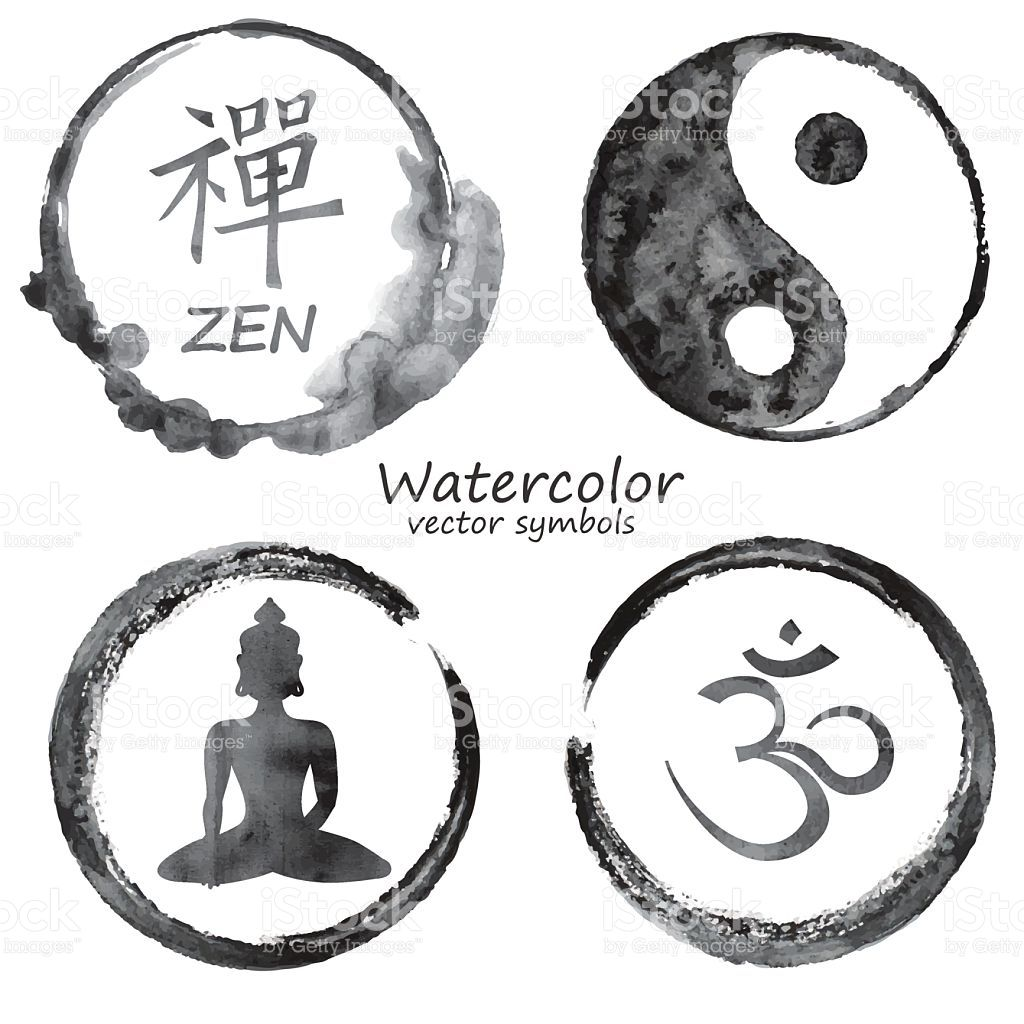 Vector Watercolor Set Of Yoga And Buddhism Label Icons Om