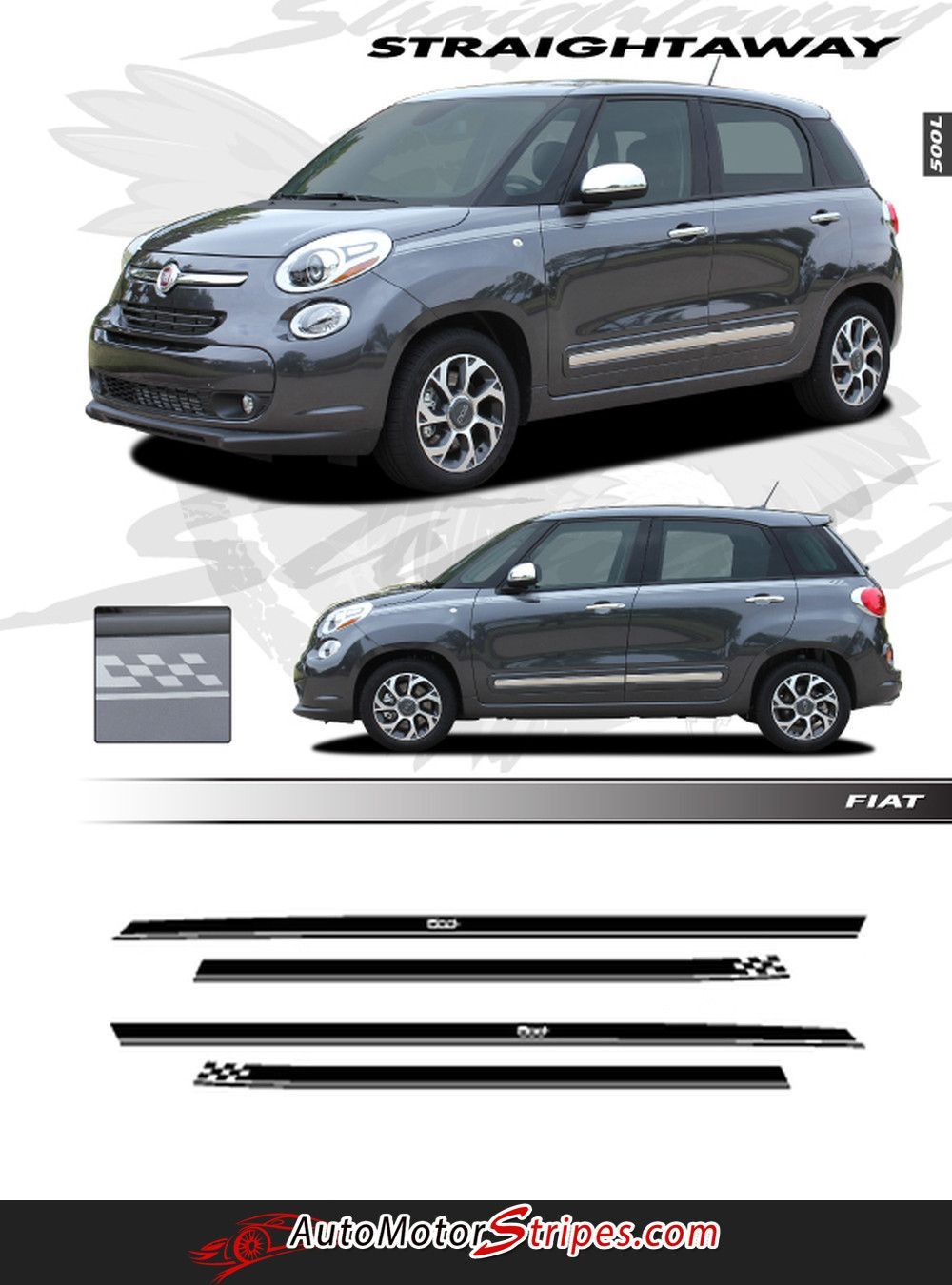 2014 2016 Fiat 500l Straightaway Upper Body Accent 4 Door Stripes