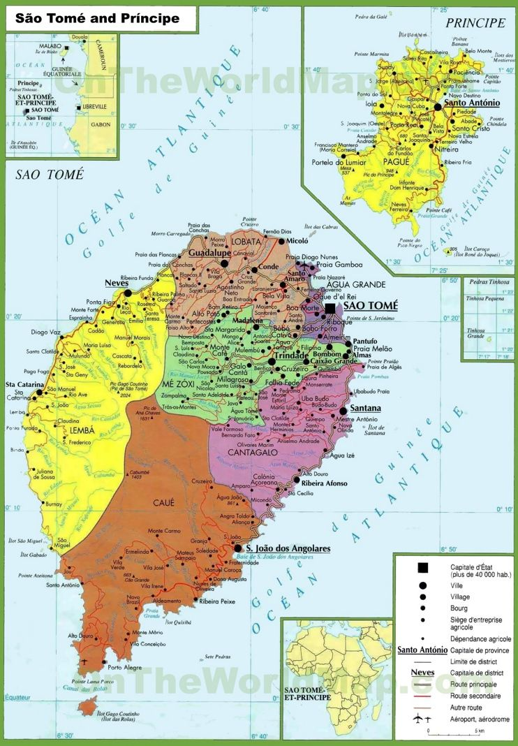 Map Of Sao Tome And Principe With Cities And Towns Sao Tome And Principe Sao Tome Sao