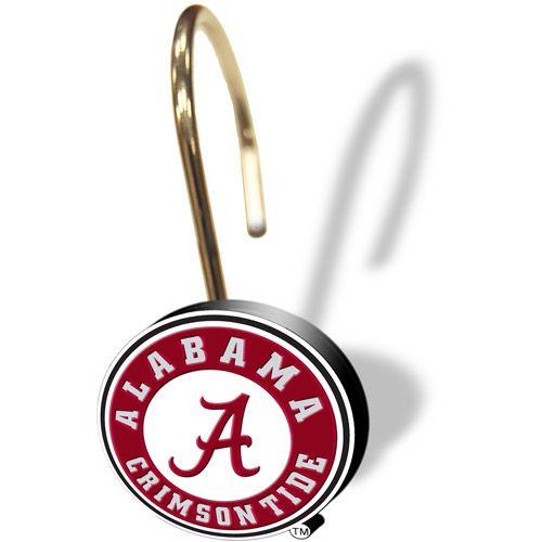 NCAA Alabama Crimson Tide Shower Curtain Rings, 12 Pack