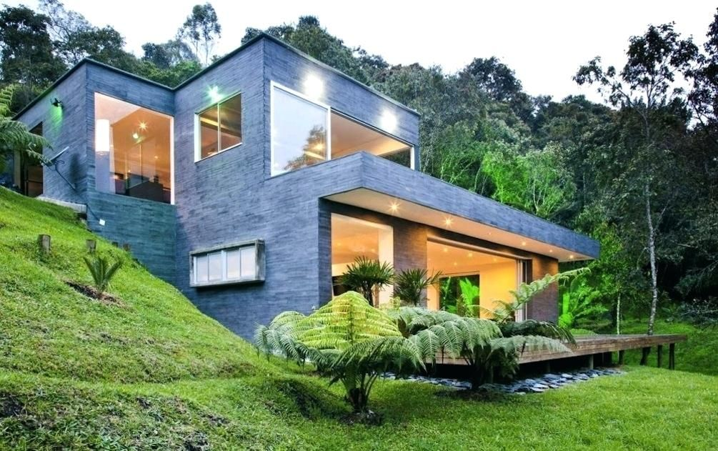 House Plans On Sloped Land Image Of Modern Hillside House Plans Decor House Plans Steep Sloping Land Hillside House Architecture House Residential Architecture