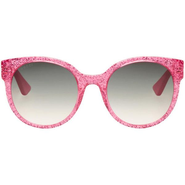 a13b094142bd Gucci Pink Round Glitter Sunglasses featuring polyvore, women's fashion,  accessories, eyewear, sunglasses, pink, glitter sunglasses, transparent  sunglasses, ...