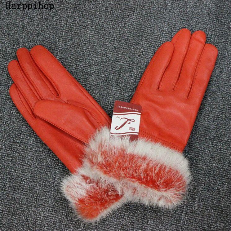 >> Click to Buy << Harppihop Women Winter Genuine Leather Gloves Fashion Brand Rabbit Fur Warm Driving Girls Gloves Goatskin Mittens Guantes #Affiliate