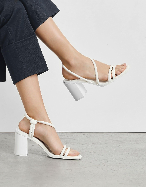 Pin By Gabriela Perez On Kitten Heel Shoes In 2020 Strappy Block Heels White Strappy Heels Neutral Sandals Heels
