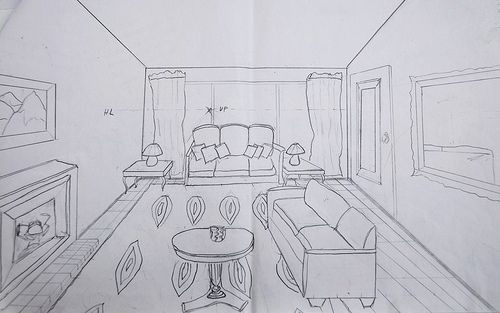 One Point Perspective Living Room Drawing Awesome 2309 Kitchen 1