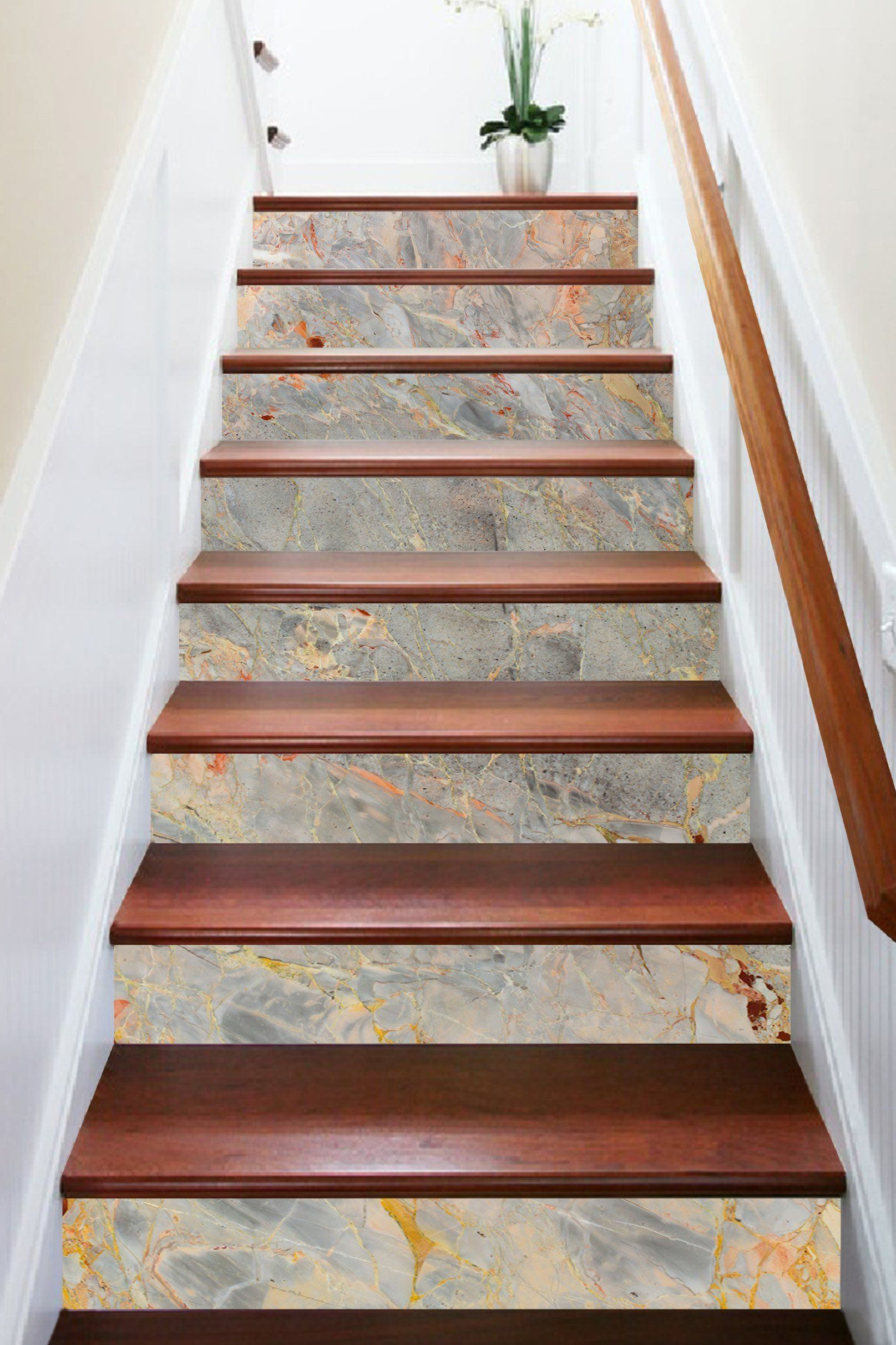 Best 3D Natural Pattern 987 Marble Tile Texture Stair Risers Stair Decor Stair Risers Tile Stairs 400 x 300