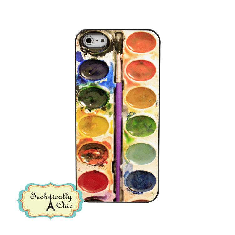 Watercolor paint palette iphone5 hard case custom case cover for iphone5.  via Etsy.