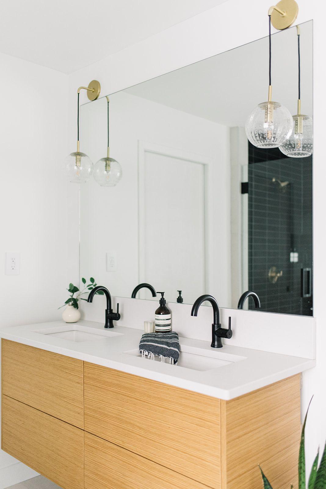Brass Hanging Pendants Above Bathroom Vanity Lighting