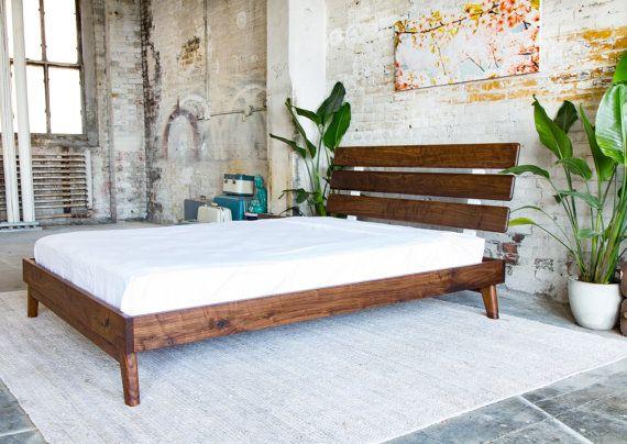 Platform Bed, Bed Frame, Midcentury Modern Bed, Walnut Bed, Modern ...