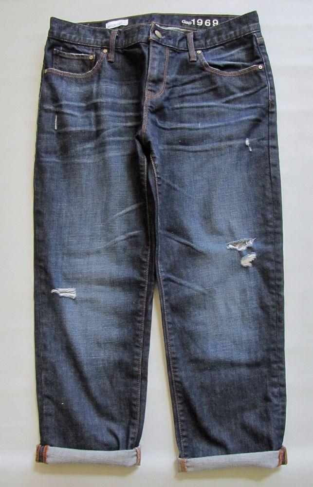 7bdcaecaf142 GAP 1969 Sexy Boyfriend Jeans 27 4 Cropped Dark Distress Marengo Crop Denim  24