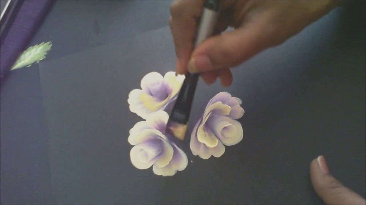 One Stroke Painting Tutorial- Painting Roses with Base And ...
