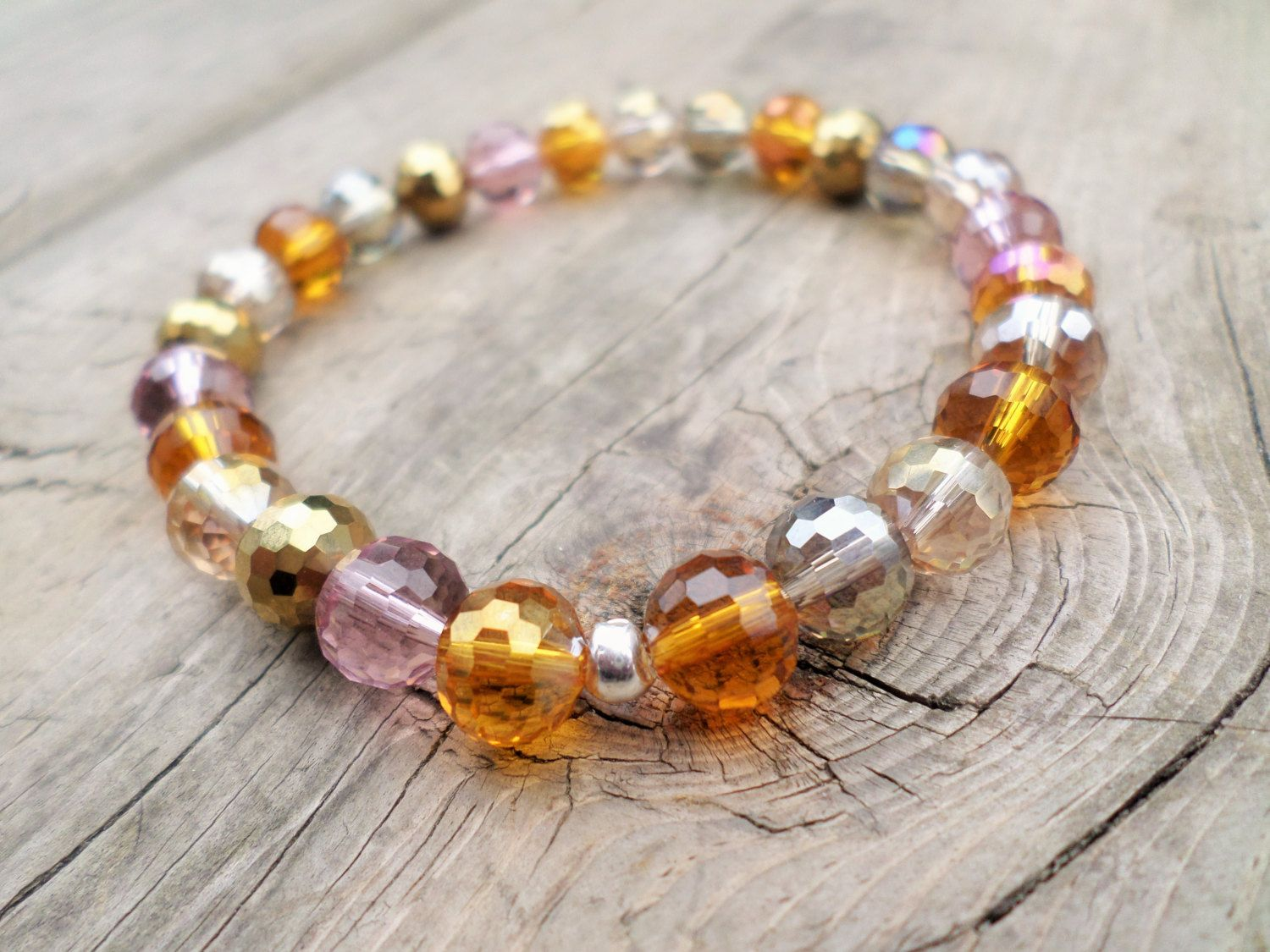 Amber Glow Faceted Crystal Stretch Bracelet Sterling Silver Large by BeadingonaBudget on Etsy