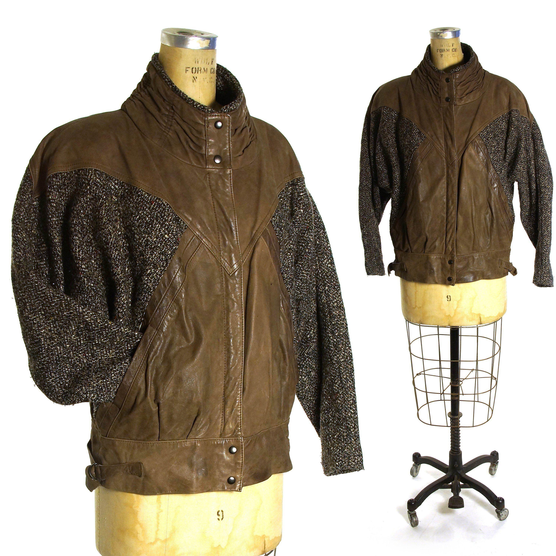 Brown Leather And Tweed Patchwork Batwing Jacket Vintage 80s Avant Garde Bomber Jacke Leather Bomber Jacket Women Bomber Jacket Women Distressed Leather Jacket [ 3000 x 3000 Pixel ]