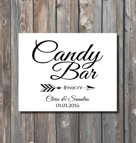 Personalized Wedding Candy Bar Sign-Printable Candy Buffet ...