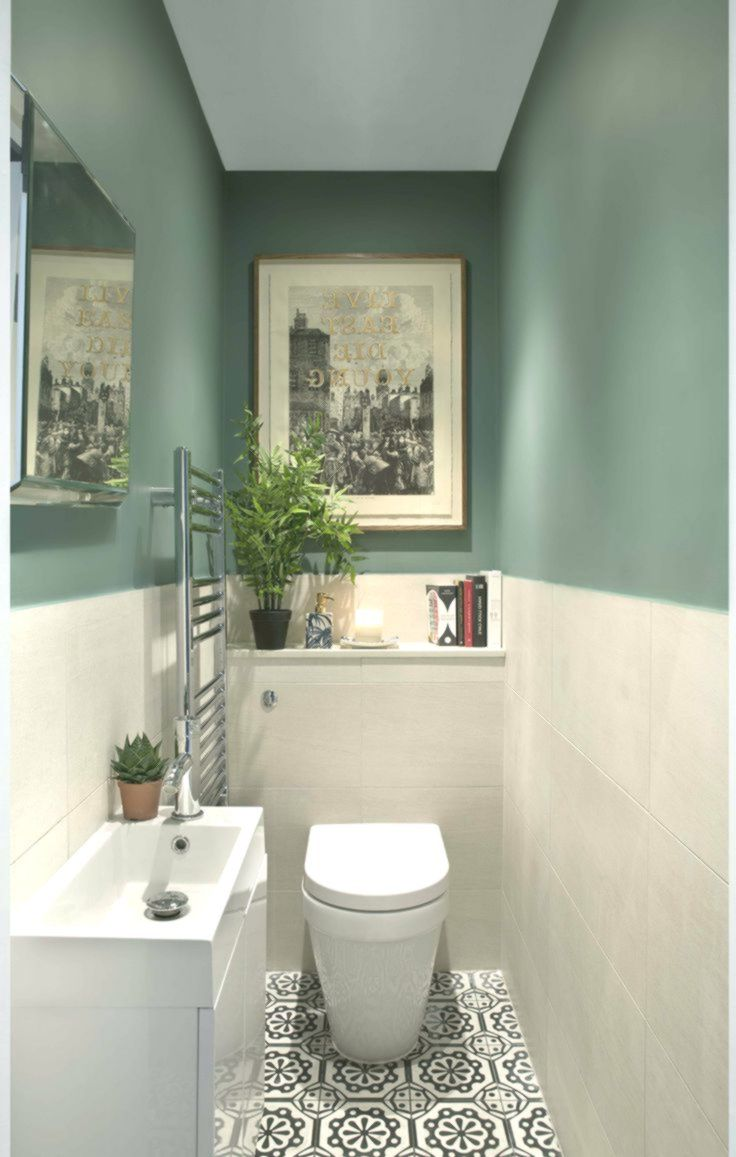 Green And Patterned Tile Bathroom By Kingstonlaffertyd Home Decor Design Small Toilet Room Very Small Bathroom Small Downstairs Toilet