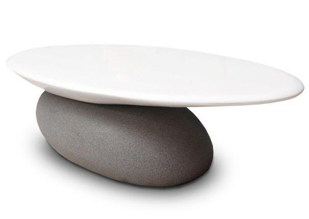 Table Basse Valyra En Fibre De Verre Laquee Blanc Table