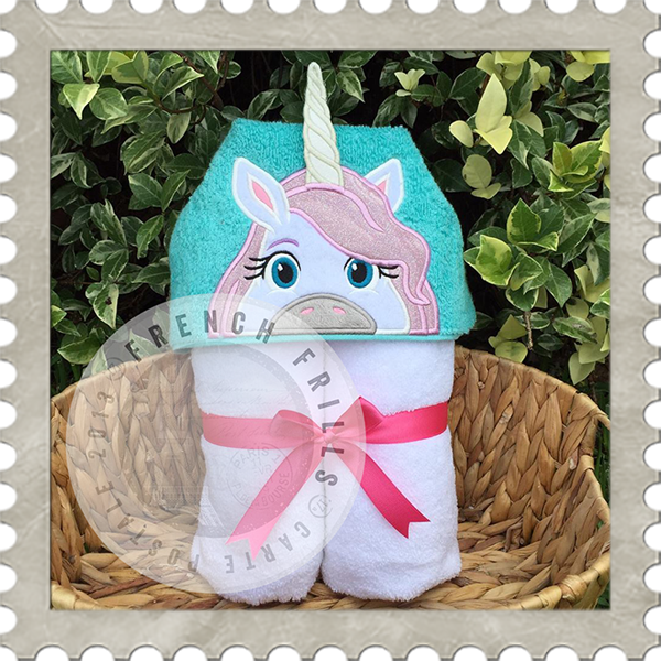 Unicorn Hooded Towel Design Embroidery Applique Miscellaneous