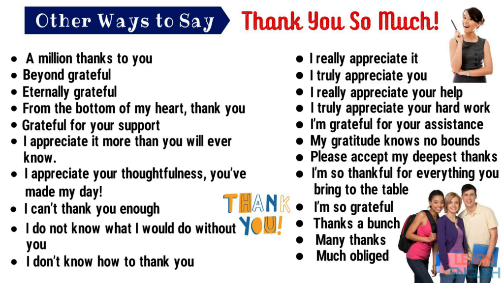 Thank You Synonym 45 Powerful Synonyms For Thank You For Esl Learners English Study Online English Study Other Ways To Say Esl Learners