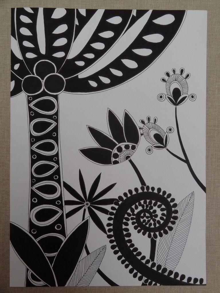 Populaire A4 dessin graphique zentangle noir et blanc paysage foret  EP61