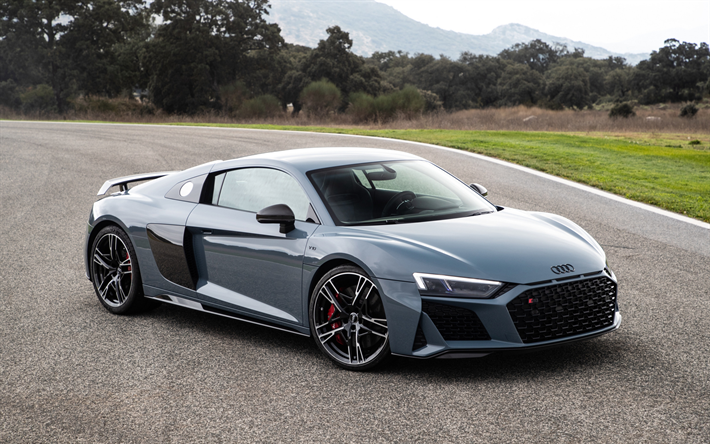 Download wallpapers Audi R8, 2019, gray sports coupe, new gray, tuning R8, racing car, German sports cars, Audi besthqwallpapers.com