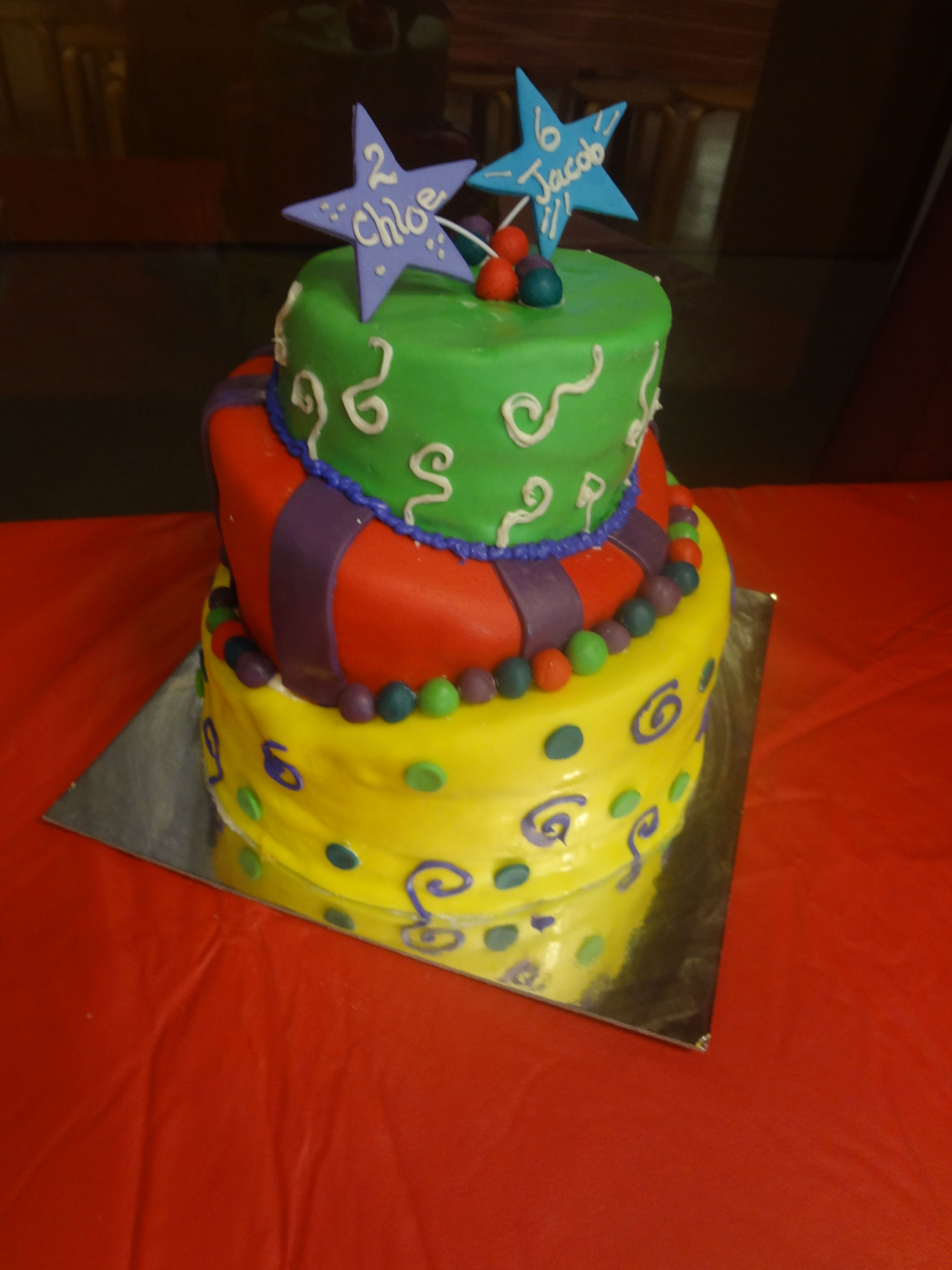 Three Tiered Topsy Turvy Whimsical Fondant Cake With 3 Diff