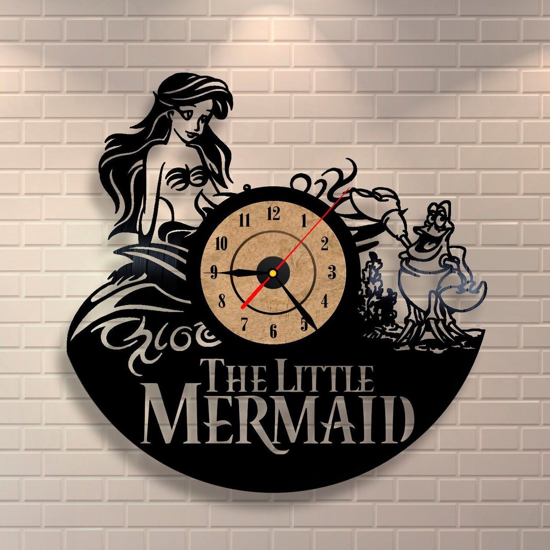 fr the little mermaid l art disque vinyle pendule. Black Bedroom Furniture Sets. Home Design Ideas