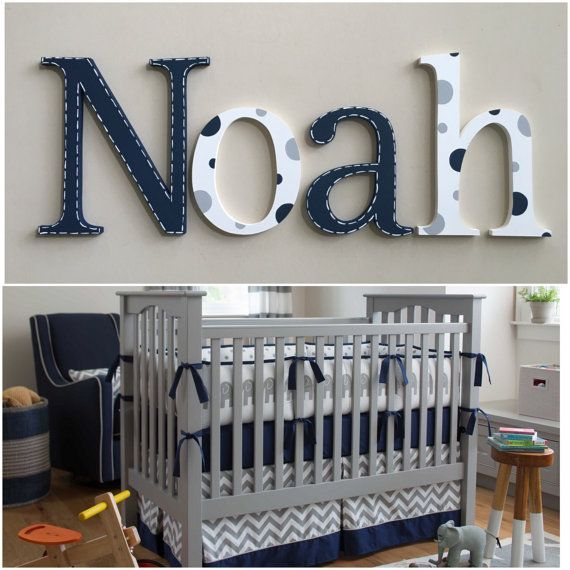 Hanging Nursery Letters Baby Boy Navy Blue Gray White Wall Babyboyname Babynames Noah Crib