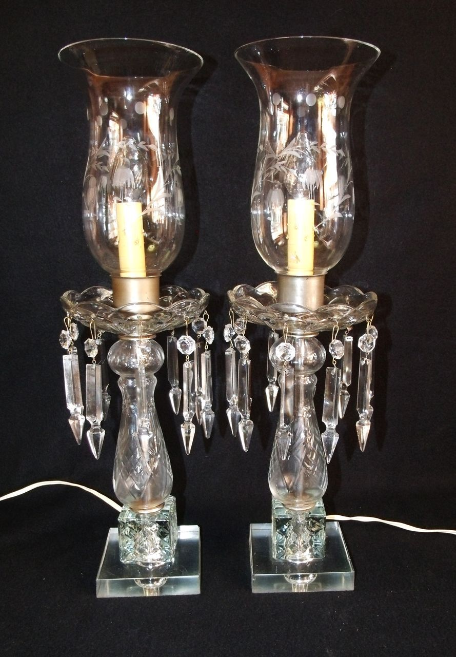 Cut Glass Crystal Table Lamps  Pair Of Vintage Cut Glass Electric Hurricane  Mantle Lamps The