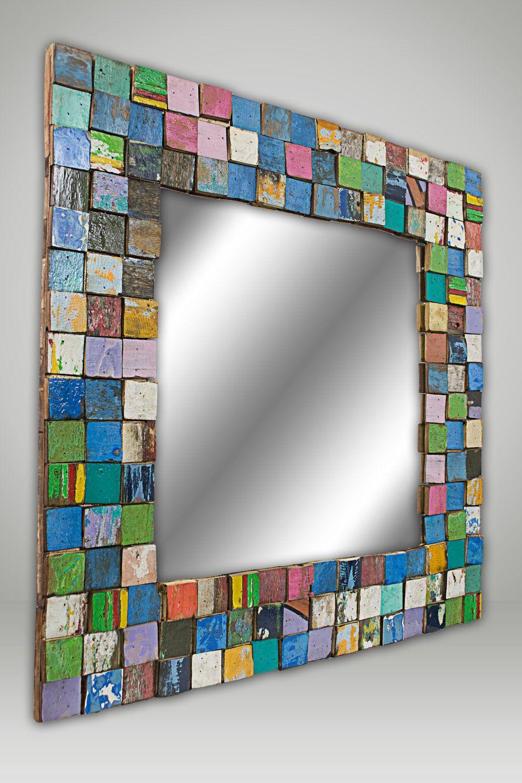 Mosaic Mirror Medium Etsy Mosaicos Azulejos De Mosaico De Vidrio Marcos De Espejos Pintados