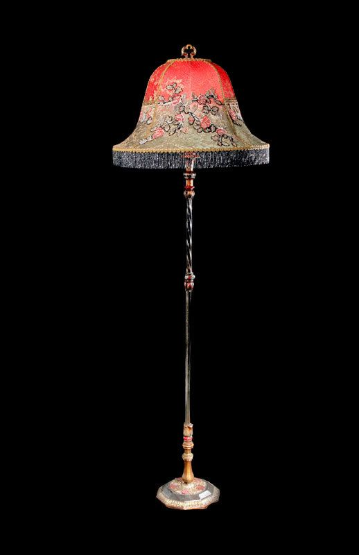 Antique Floor Lamp 1920s Asian Style Original Paint By Bellasoiree