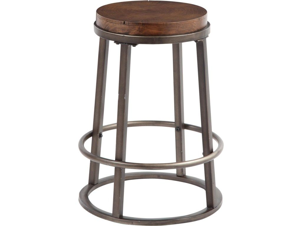 This Counter Stool Has A Modern Industrial Look With A Circular Metal Base In A Glazed Bronze
