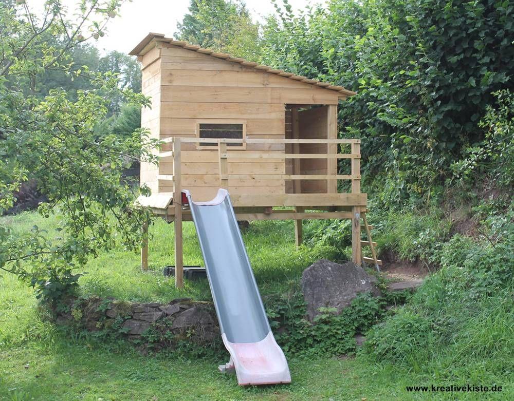 2 spielhaus mit rutsche selber bauen | kind - gartenspielhaus,