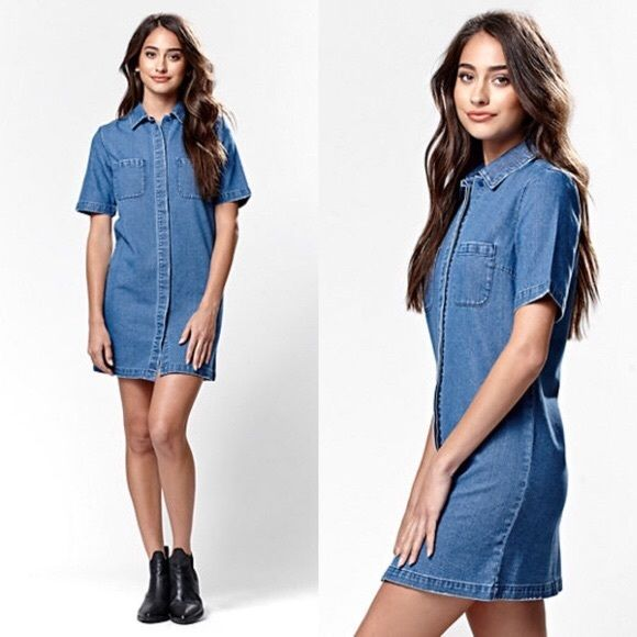 f6eb9920c97 Boxy Denim Shirt Dress NWT! Runs boxy (not as tight as the model). a  classic and western-inspired look with the Short Sleeve Denim Dress.