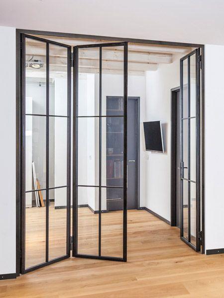 Stahl Glas Turen Stahl Loft Turen In 2020 Falttur Glas Glasturen Innen Wohnung Innenarchitektur