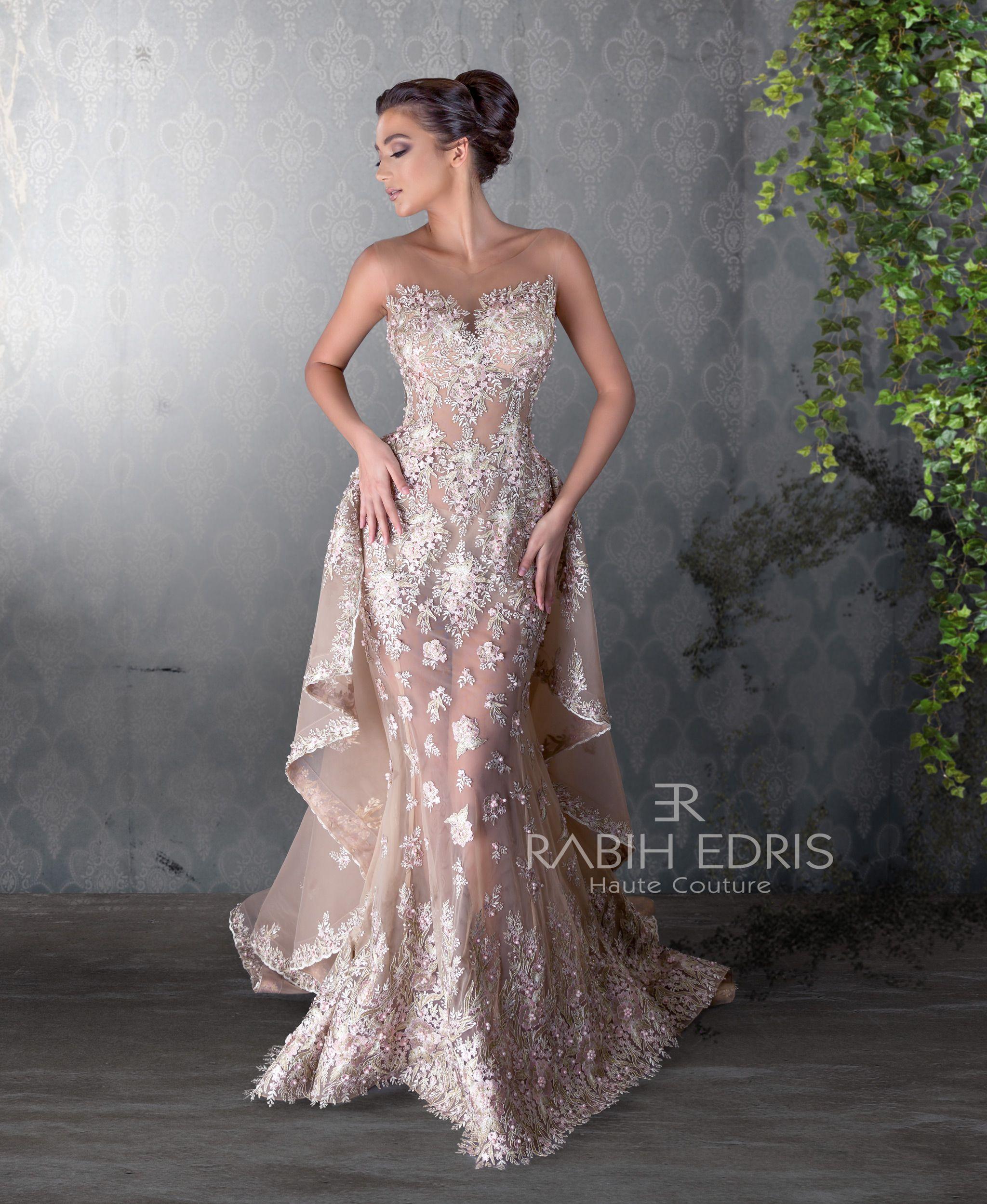 Rose gold evening dress rabih edris ss photo shoot pinterest